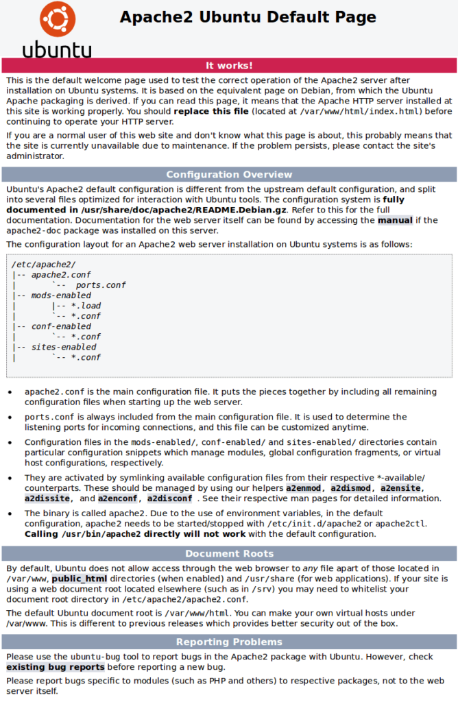 Apache default page